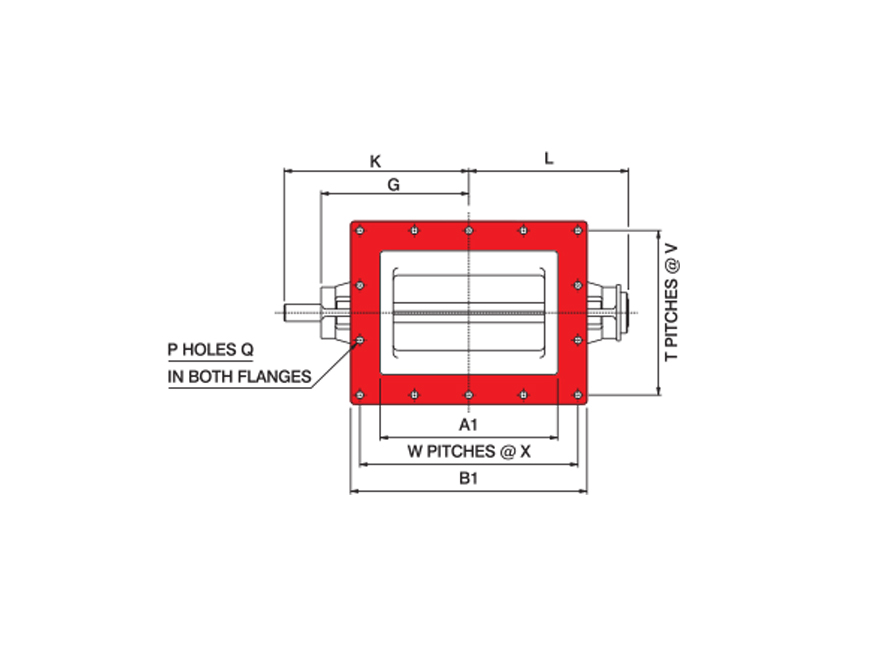 Rectangular Oddball Rotary Valve Technical Drawing