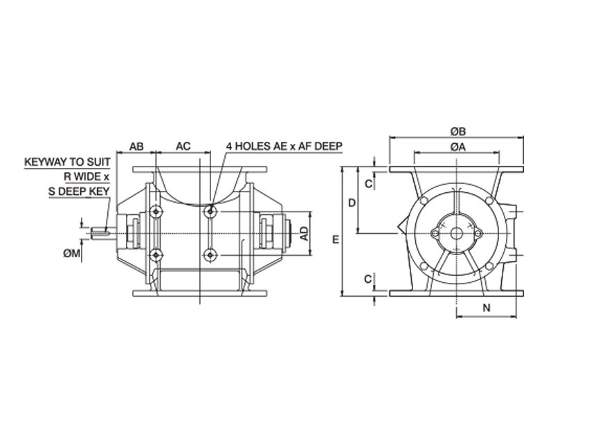 Round Oddball Rotary Valves Dimensions Drawing