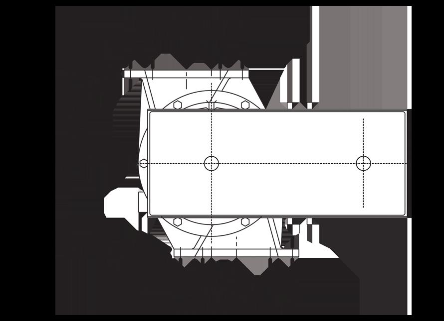 Rectangular Offset Airlock Valve Technical Drawing