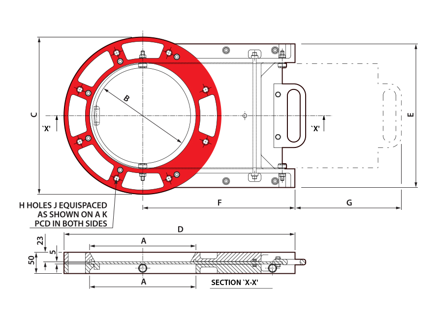 Manual Round Cast Slimslide Technical Drawing