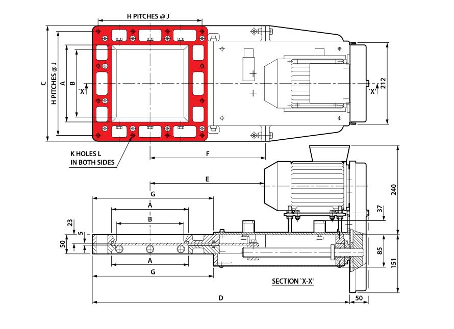 Square Motorised Cast Slimslide Technical Drawing